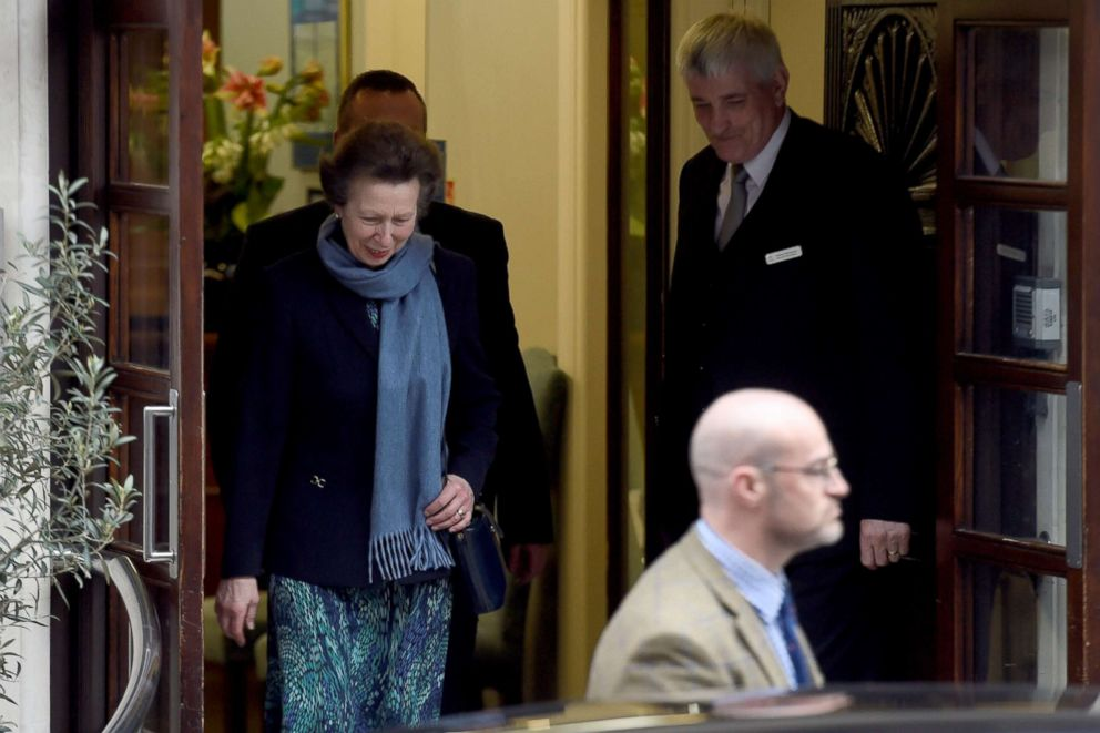 PHOTO: Princess Anne leaves the King Edward VIIs Hospital after visiting her father Prince Philip in London, April 12, 2018.