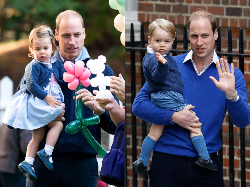 PHOTO: Prince William and his daughter Princess Charlotte in Victoria, Canada, Sept. 29, 2016. | Prince William and his son Prince George in London, May 2, 2015.