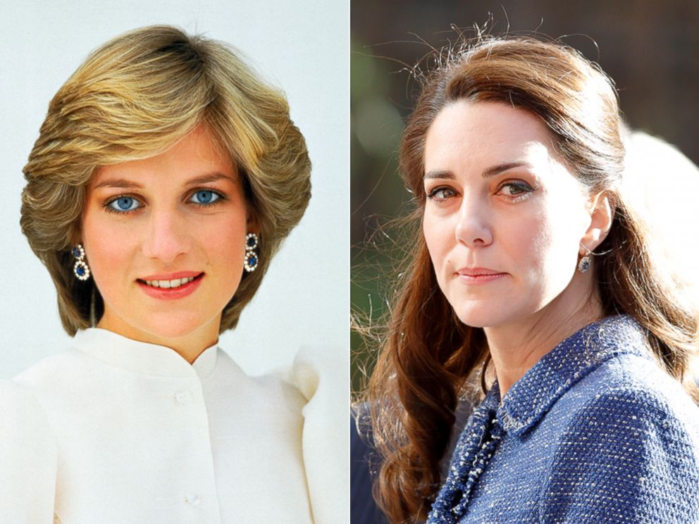 PHOTO: The Princess wears a white antique lace and lawn blouse with a high neck, and diamond and angel skin coral drop earrings, July 1, 1982   Catherine, Duchess of Cambridge, visits Ronald McDonald House Evelina London, Feb. 28, 2017, in London.
