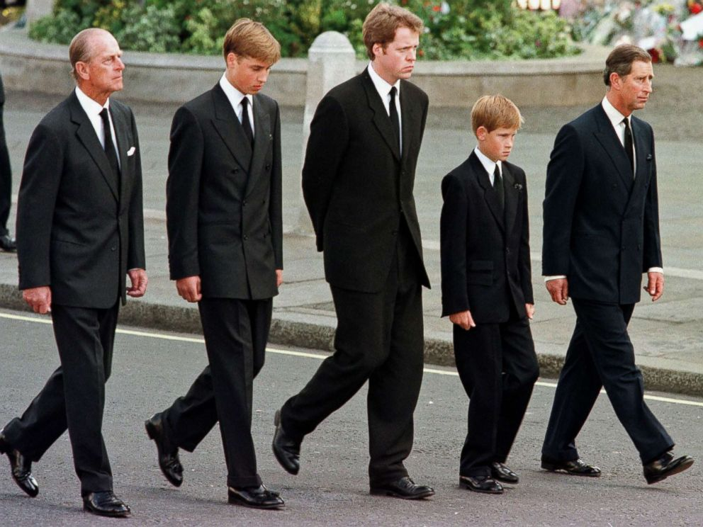 PHOTO: Prince Philip, Duke of Edinburgh, Prince William, Earl Spencer, Prince Harry and Prince Charles, Prince of Wales walk outside Westminster Abbey during the funeral service for Diana, Princess of Wales, Sept. 6, 1997.