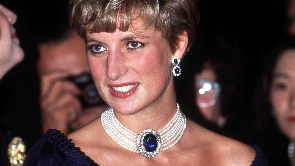 Diana, Princess of Wales, visits the National Arts Centre in Ottawa, October 1991. She is wearing a pearl and sapphire choker.