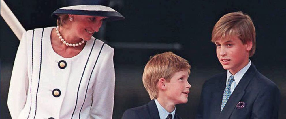PHOTO: Princess Diana and her sons Prince Harry and Prince William, as they gather for the commemorations of VJ Day in London, Aug. 19, 1995.