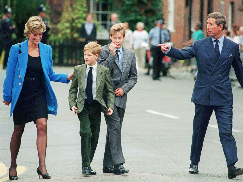 PHOTO: Prince Charles, Prince of Wales, Princess Diana, Princess of Wales, their sons Prince William and Prince Harry arrive at Eton College for Williams first day of school, Sept. 1995.