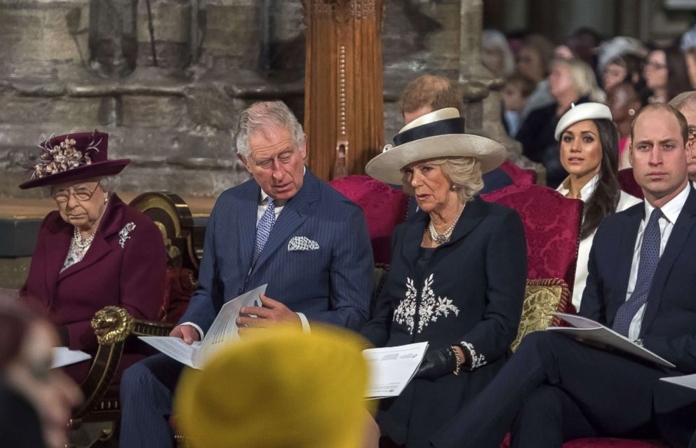 PHOTO: Queen Elizabeth II, Prince Charles, Duchess Camilla, Prince Harrys fiancee Meghan Markle and Prince William attend a Commonwealth Day Service at Westminster Abbey in central London, on March 12, 2018.