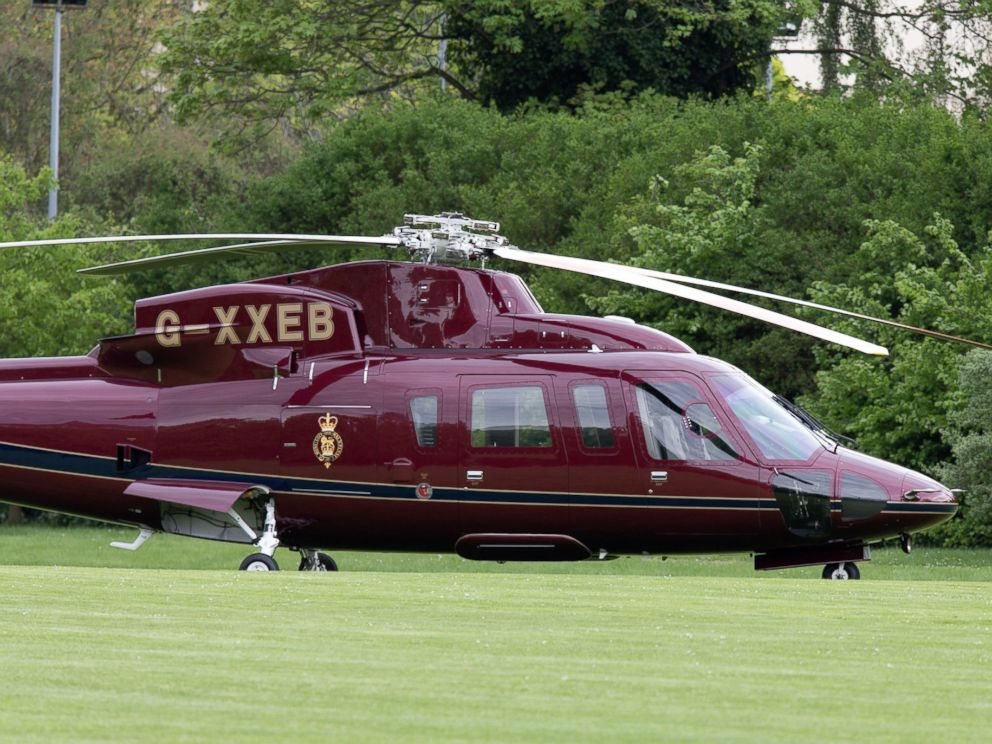 Flynet  Splash News Queen Elizabeth II spotted taking a helicopter to Kensington Gardens to visit her great grandchild Louis in London