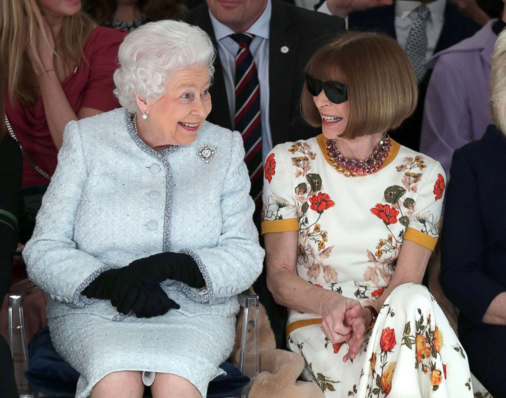 PHOTO: Queen Elizabeth II, accompanied by Anna Wintour, views British designer Richard Quinns runway show during her visit to London Fashion Weeks BFC Show Space in central London, Feb. 20, 2018.