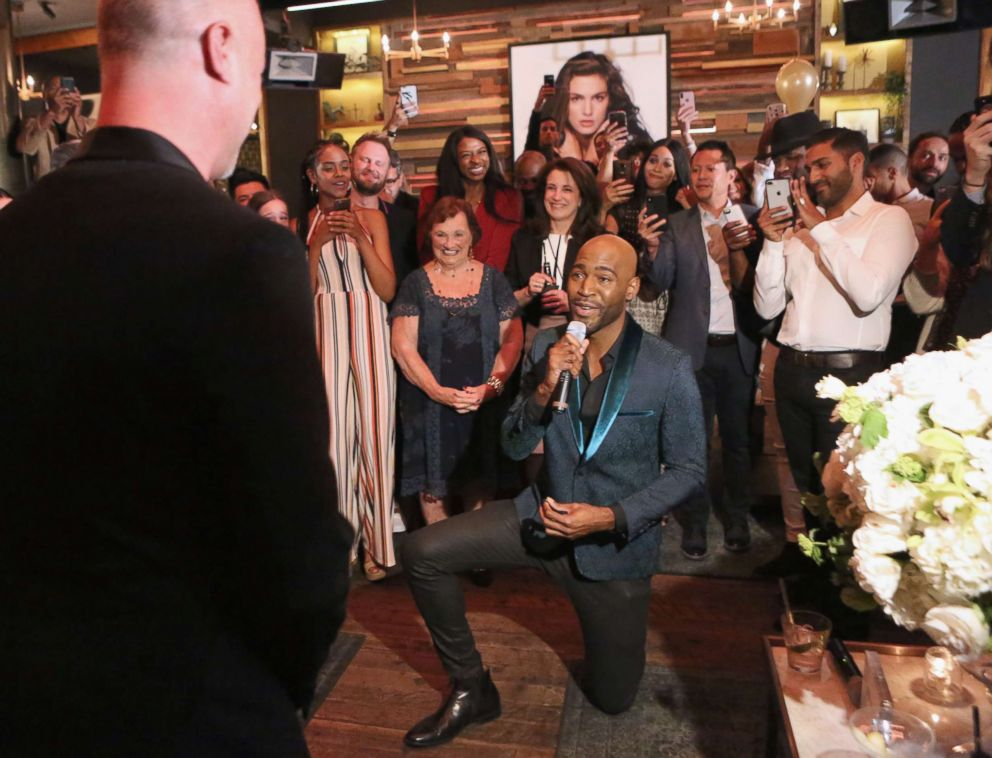 PHOTO: Karamo Brown proposes to Ian Jordan on May 9, 2018 in West Hollywood, Calif.