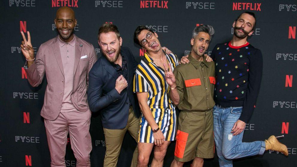 Karamo Brown, Bobby Berk, Antoni Porowski, Tan France and Jonathan Van Ness attend a Netflix event at Raleigh Studios on May 31, 2018 in Los Angeles.