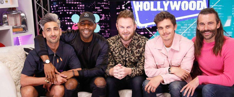 "PHOTO: Tan France, Karamo Brown, Bobby Berk, Antoni Porowski and Jonathan Van Ness from ""Queer Eye"" visits the Young Hollywood Studio, May 31, 2017, in Los Angeles."