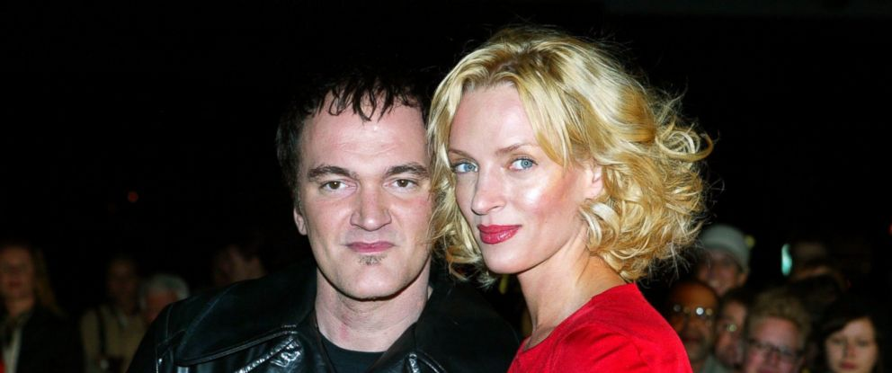"""PHOTO: Hollywood director Quentin Tarantino and actress Uma Thurman arrive for the European premiere of their film """"Kill Bill - Volume 1"""" in Berlin, Oct. 1, 2003."""