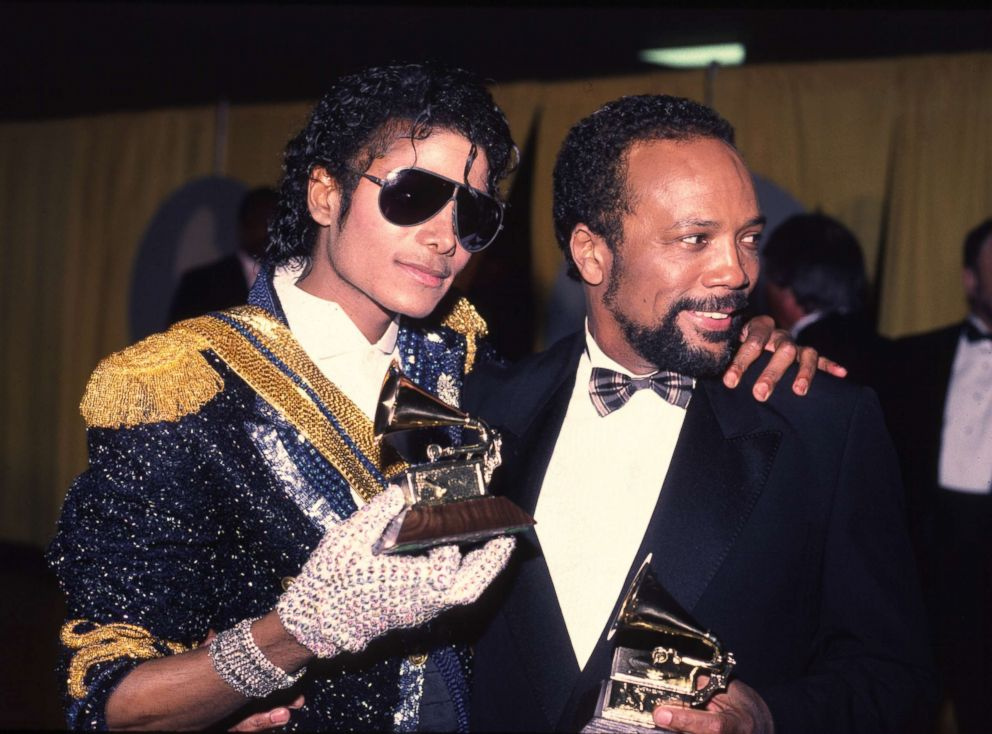 PHOTO: Michael Jackson at the 1994 Grammy awards with Quincy Jones.