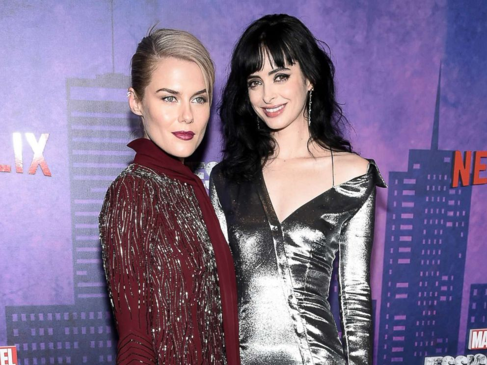 PHOTO: Rachael Taylor and Krysten Ritter attend Jessica Jones Season 2 New York Premiere at AMC Loews Lincoln Square, March 7, 2018 in New York City.