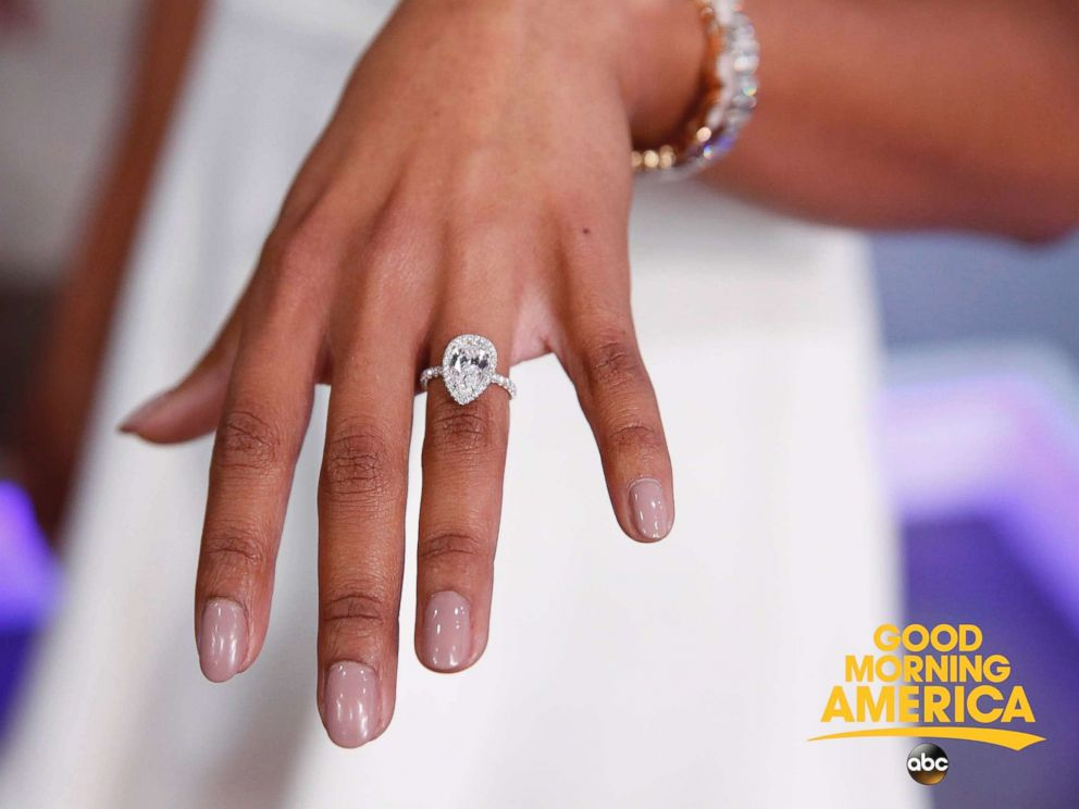 PHOTO: Bryan Abasolo proposed to Rachel Lindsay with a pear-shaped diamond engagement ring from designer Neil Lane.