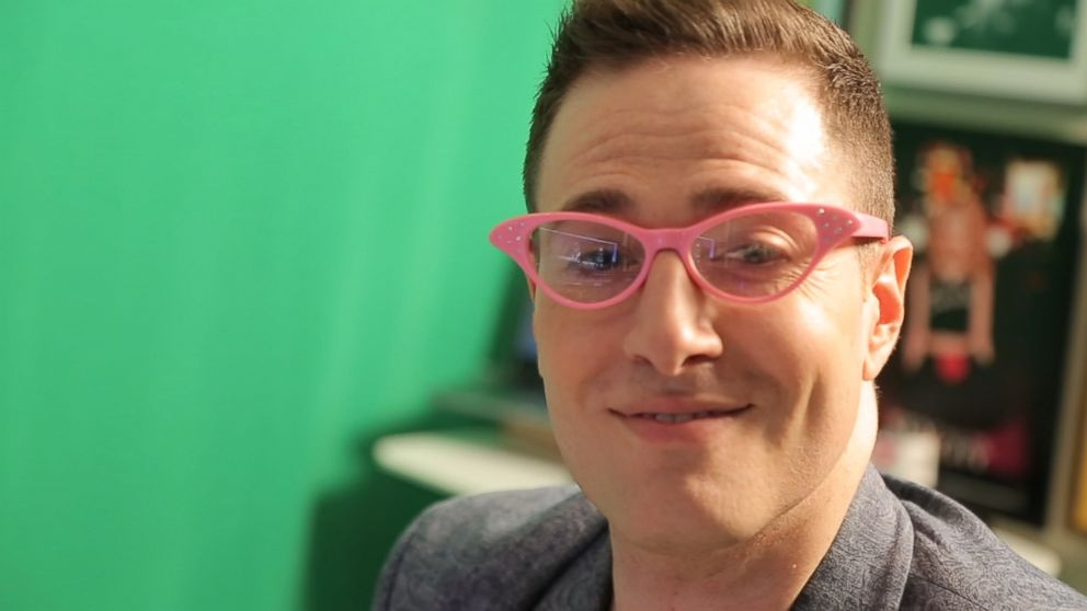 Randy Rainbow in his trademark pink glasses.