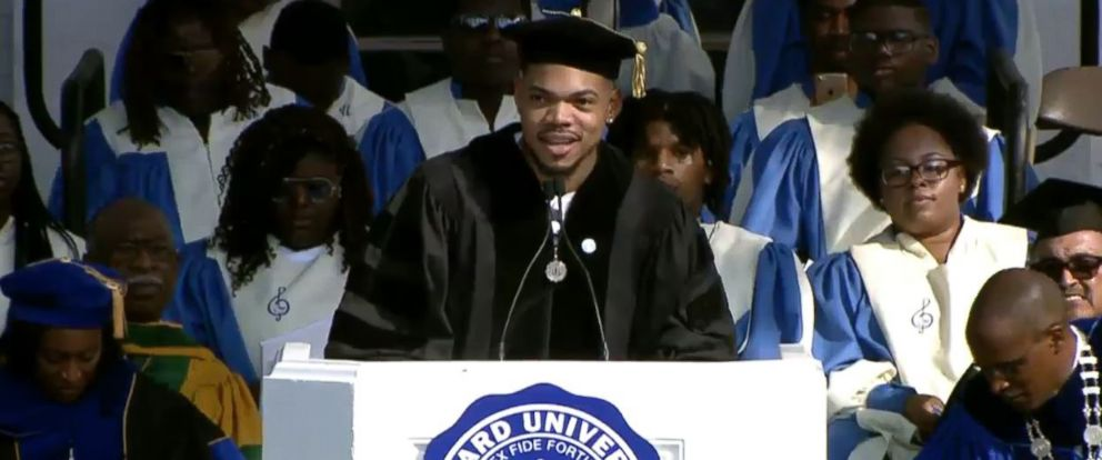 PHOTO: Chance the Rapper speaks at Dillard Universitys commencement ceremony in New Orleans, May 12, 2018. Dillard University shared video and pictures of the ceremony on Twitter.