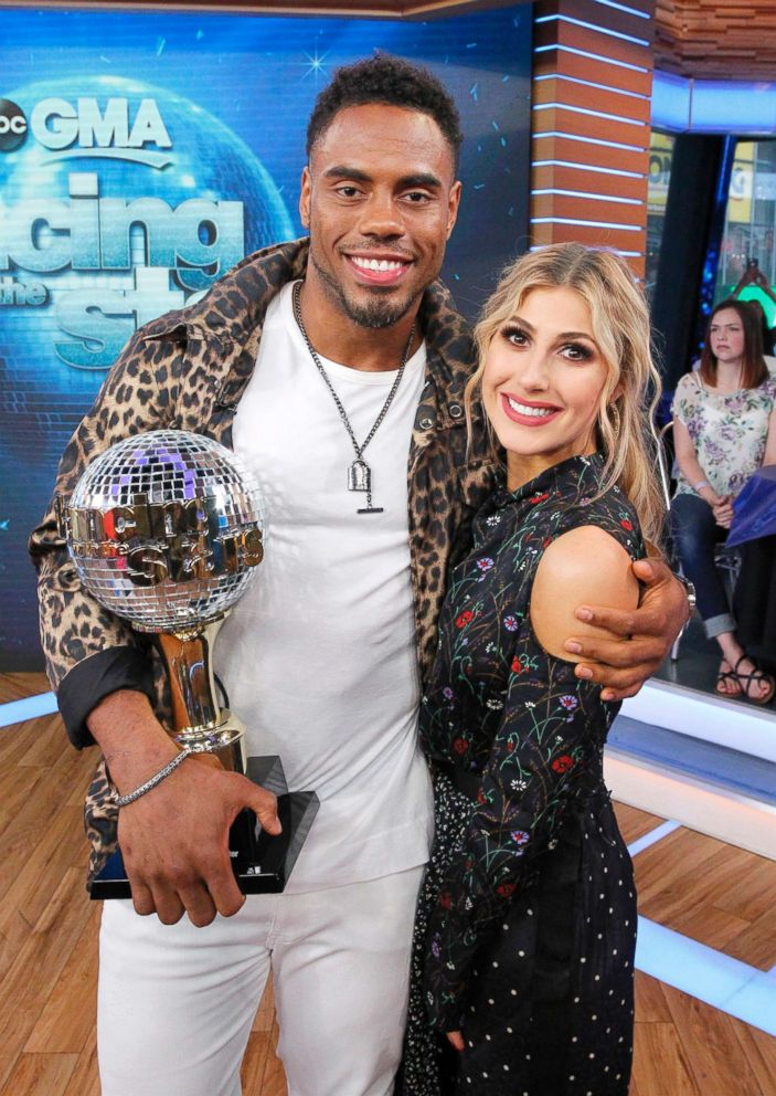 PHOTO: In this file photo, Rashad Jennings and his partner Emma Slater at the Dancing with the Stars after party on Good Morning America, May 24, 2017, airing on the ABC Television Network.