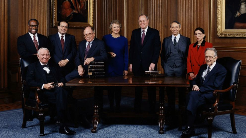 PHOTO: The Supreme Court Justices circa, including Ruth Bader Ginsburg circa 1993 in a scene from the movie, RBG.