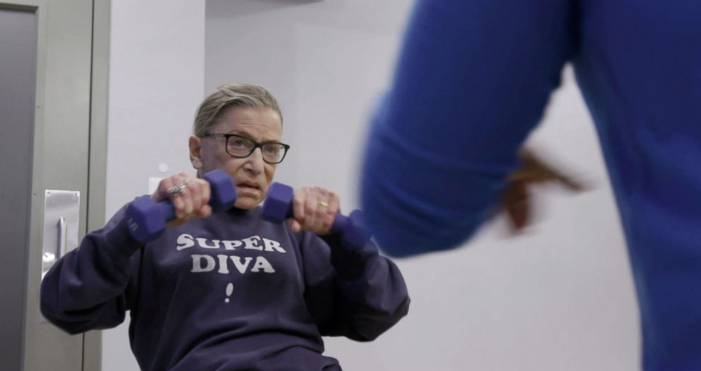 PHOTO: Associate Supreme Court Justice Ruth Bader Ginsburg does her workout routine in scene from the movie, RBG.