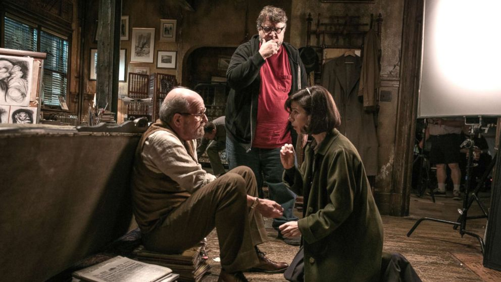 "Richard Jenkins, Director Guillermo del Toro and Sally Hawkins on the set of ""The Shape of Water."""