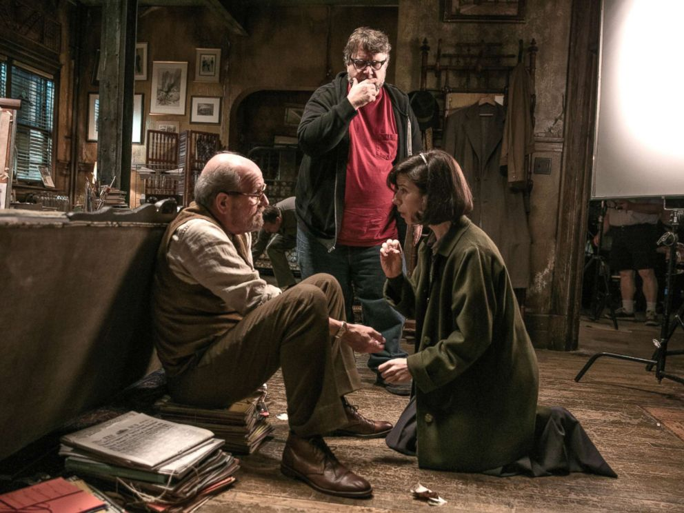 PHOTO: Richard Jenkins, Director Guillermo del Toro and Sally Hawkins on the set of The Shape of Water.