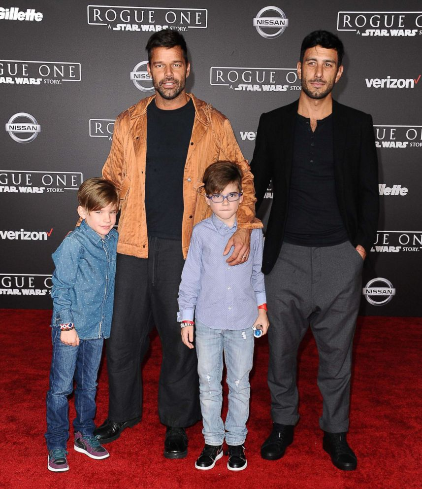 "Ricky Martin, Jwan Yosef, and sons Matteo Martin and Valentino Martin attend the premiere of ""Rogue One: A Star Wars Story"" at the Pantages Theatre on Dec. 10, 2016 in Hollywood, California."