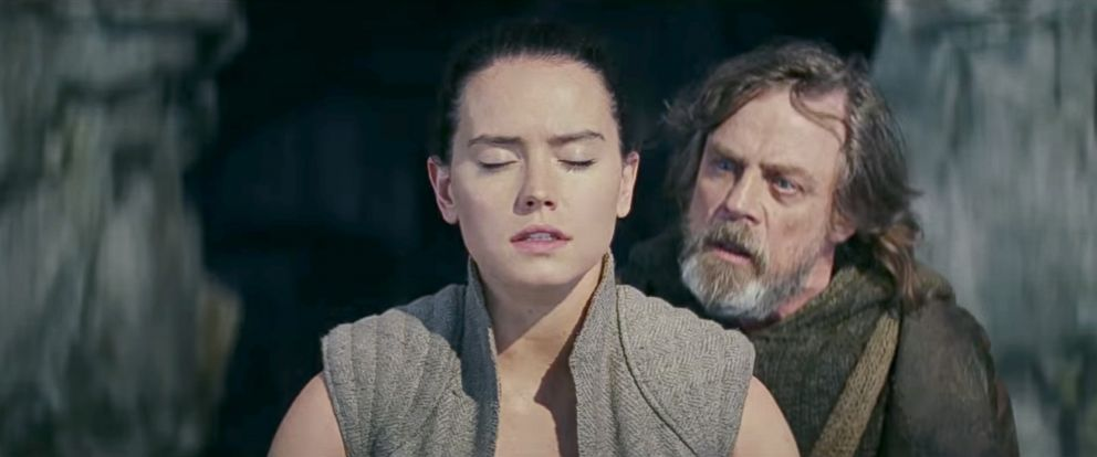 "PHOTO: Daisy Ridley, as Rey, and Mark Hamill, as Luke Skywalker, in a scene from ""Star Wars: The Last Jedi."""