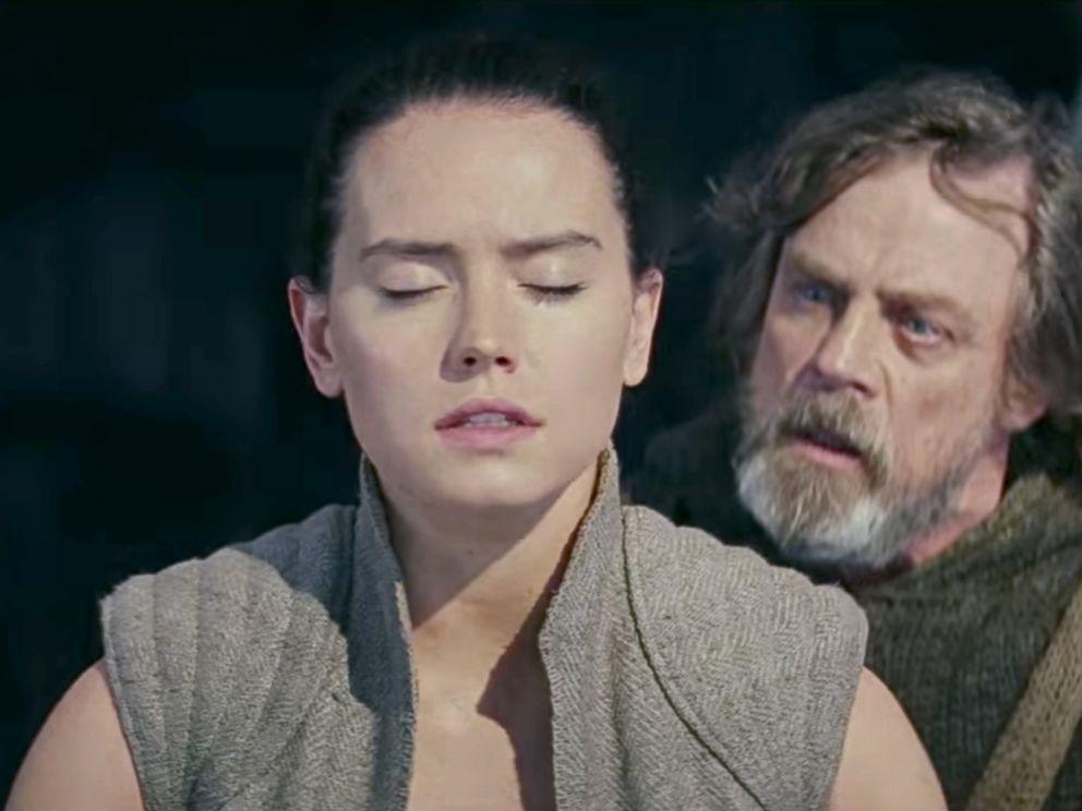 PHOTO: Daisy Ridley, as Rey, and Mark Hamill, as Luke Skywalker, in a scene from Star Wars: The Last Jedi.