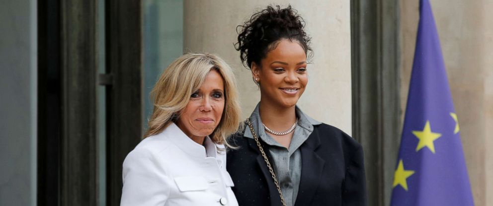PHOTO: Rihanna, founder of the Clara Lionel Foundation (CLF), is welcomed by Brigitte Macron, wife of the French President, as she arrives at the Elysee Palace in Paris, July 26, 2017.