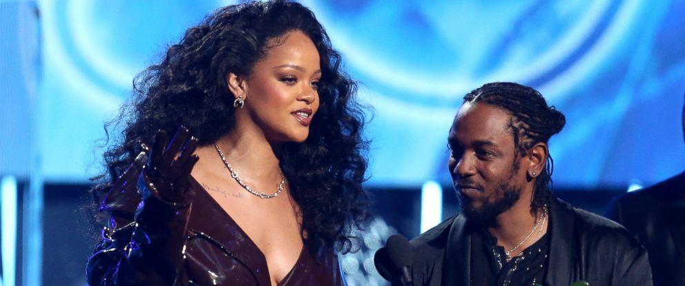 "PHOTO: Rihanna, left, and Kendrick Lamar accept the award for best rap/sung performance for ""Loyalty."" at the 60th annual Grammy Awards at Madison Square Garden, Jan. 28, 2018, in New York."