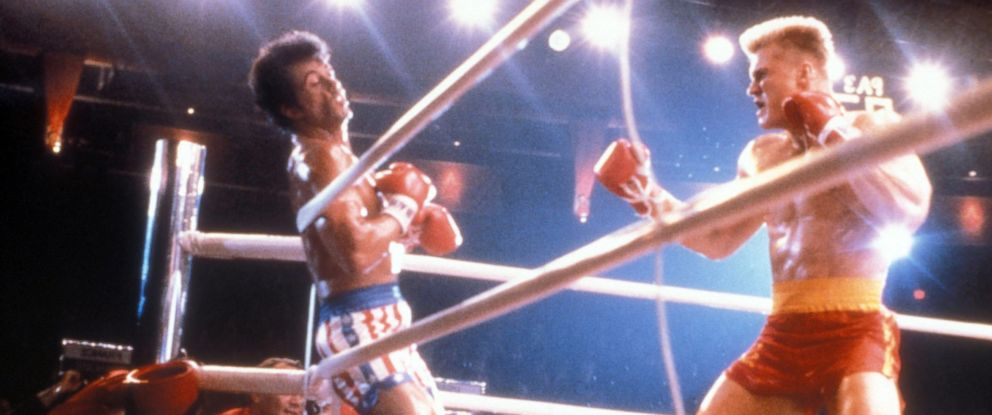 "PHOTO: Sylvester Stallone and Dolph Lundgren are seen in a scene from the 1985 film ""Rocky IV."""