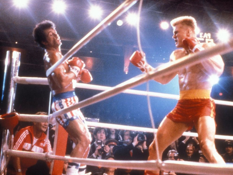 Dolph Lundgren are seen in a scene from the 1985 film Rocky IV