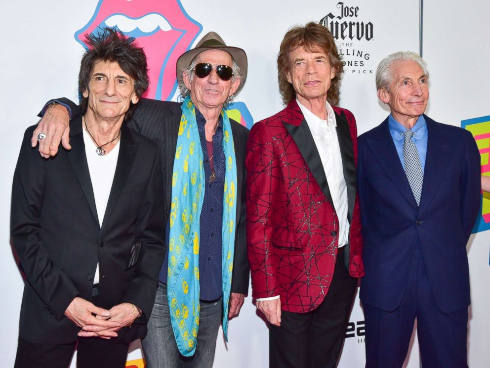 PHOTO: (L-R) Ronnie Wood, Keith Richards, Mick Jagger and Charlie Watts attend The Rolling Stones - Exhibitionism Opening Night at Industria Superstudio, Nov.r 15, 2016, in New York City.