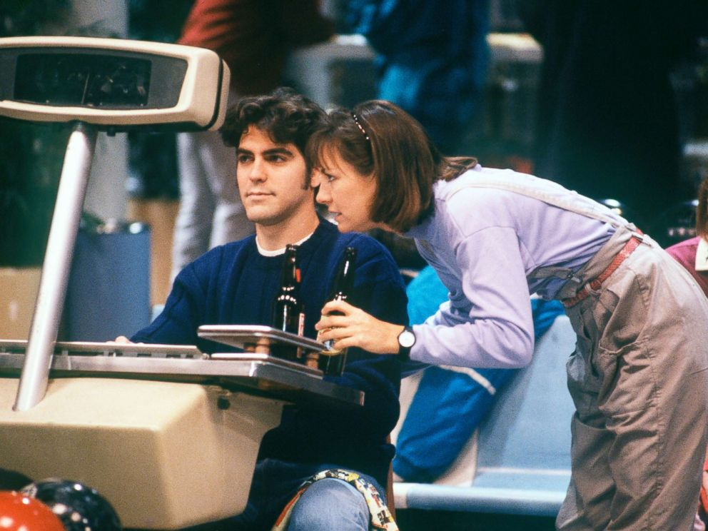PHOTO: Laurie Metcalf, who plays Jackie, had a salacious bet on the line with Booker, played by George Clooney, on bowling night, during the Lovers Lane episode of Rosanne, Dec. 6, 1988.
