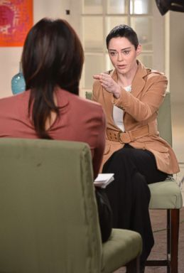 PHOTO: ABC News Nightline co-anchor Juju Chang sat down for an extensive interview with Rose McGowan about her new book Brave and McGowans allegations that Harvey Weinstein raped her.