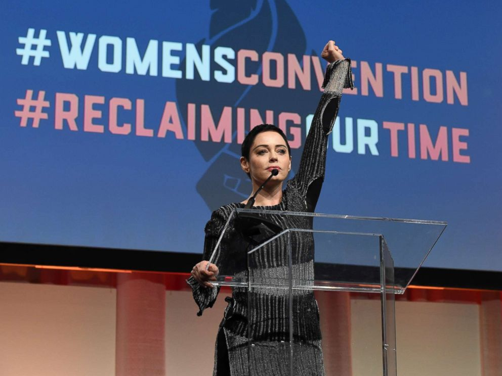 PHOTO: Actress Rose McGowan speaks as part of the Womens Convention at the Cobo Center in Detroit, Mich., Oct. 27, 2017.
