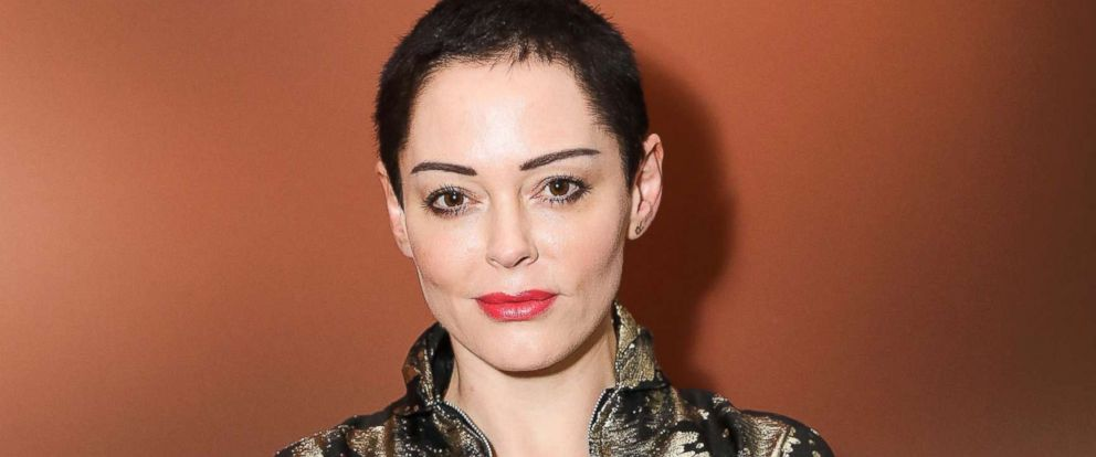 """PHOTO: Rose McGowan attends a private view of Joe Corres new exhibition """"Ash From Chaos"""" at Lazinc, April 19, 2018, in London."""