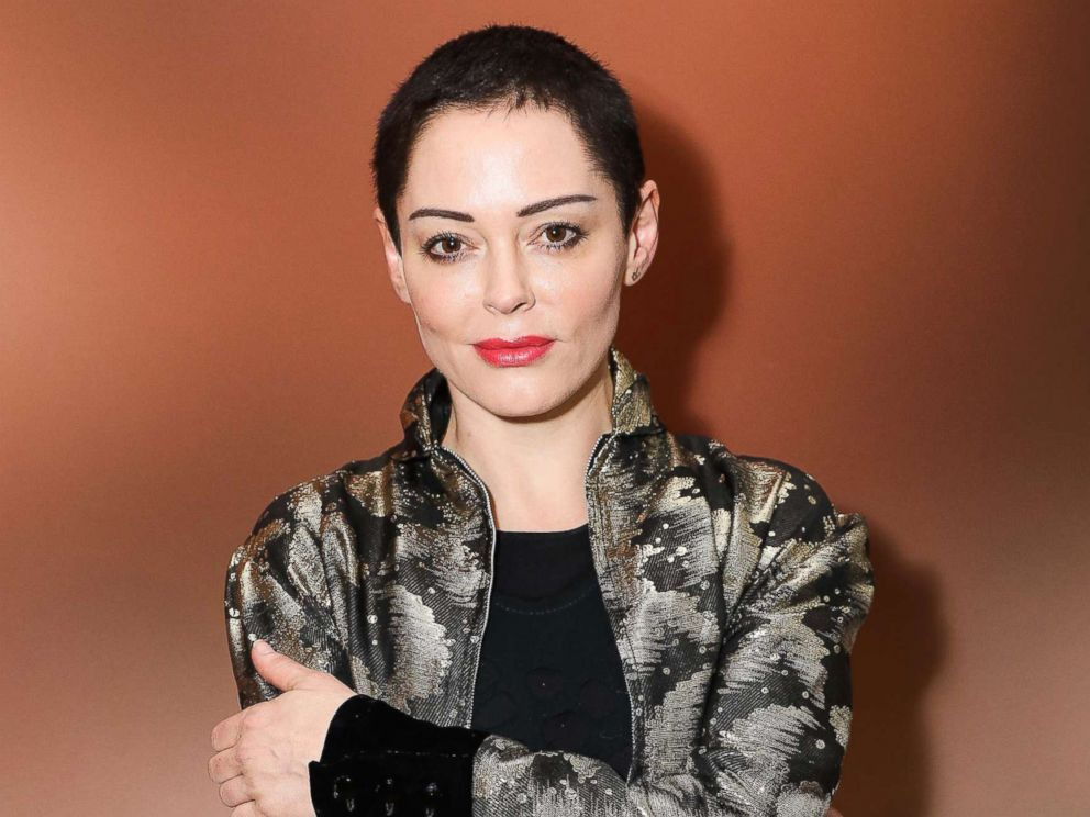 PHOTO: Rose McGowan attends a private view of Joe Corres new exhibition Ash From Chaos at Lazinc, April 19, 2018, in London.