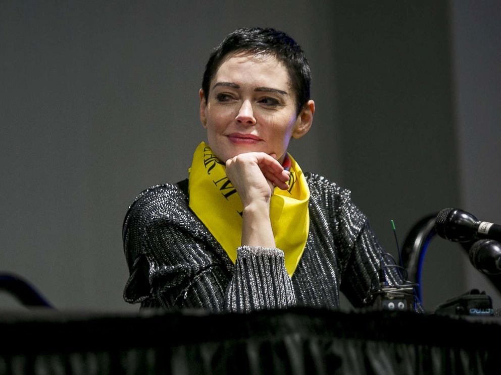 PHOTO: Rose McGowan listens during a workshop at the Womens Convention in Detroit, Mich., Oct. 27, 2017.