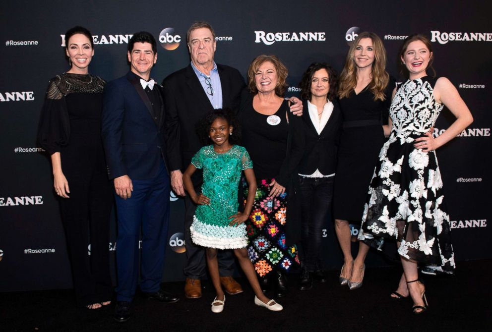 PHOTO: From left, executive producer Whitney Cummings, actors Michael Fishman, John Goodman, Jayden Rey, Roseanne Barr, Sara Gilbert, Sarah Chalke and Emma Kenney attend The Roseanne Series Premiere in Burbank, Calif., March 23, 2018.