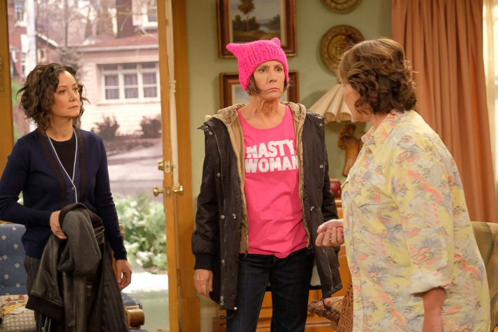 PHOTO: Sara Gilbert, Laurie Metcalf and Roseanne Barr appear in a scene from Roseanne.