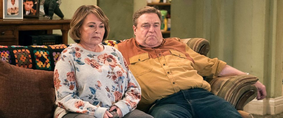 "PHOTO: Roseanne Barr, left, and John Goodman appear in a scene from the reboot of ""Roseanne."""