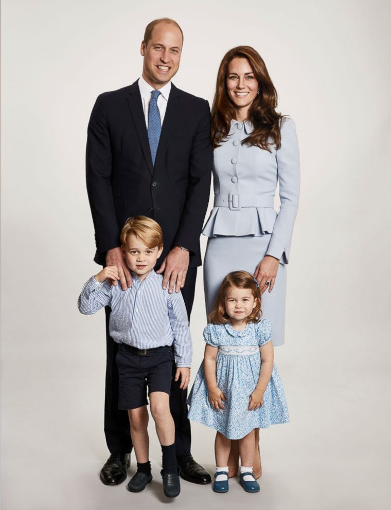 Britains Prince William and Kate, the Duchess of Cambridge pose with their children Prince George and Princess Charlotte, at Kensington Palace in this undated photo provided by Kensington Palace. The photo has been used on the Cambridges Christmas card.
