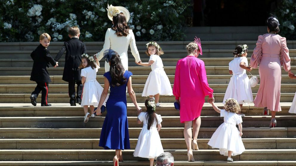 the adorable kids including george and charlotte who walked with meghan markle down the aisle abc news meghan markle down the aisle