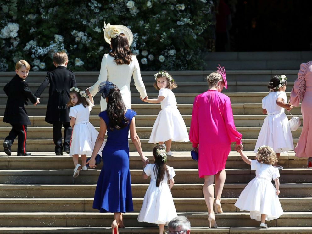 PHOTO: Catherine, the Duchess of Cambridge arrives with the bridesmaids at St Georges Chapel at Windsor Castle for the wedding of Prince Harry and Meghan Markle in Windsor, May 19, 2018.