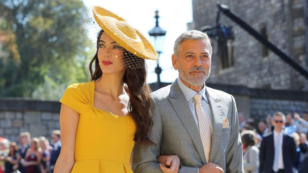 Amal Clooney and George Clooney arrive for the wedding ceremony of Prince Harry and Meghan Markle at St. George's Chapel in Windsor Castle in Windsor, May 19, 2018.