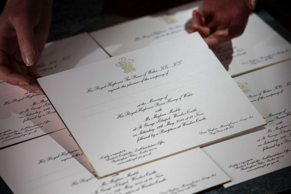 PHOTO: Invitations for Prince Harry and Meghan Markles wedding in May, after they have been printed at the workshop of Barnard and Westwood in London, March 22, 2018.