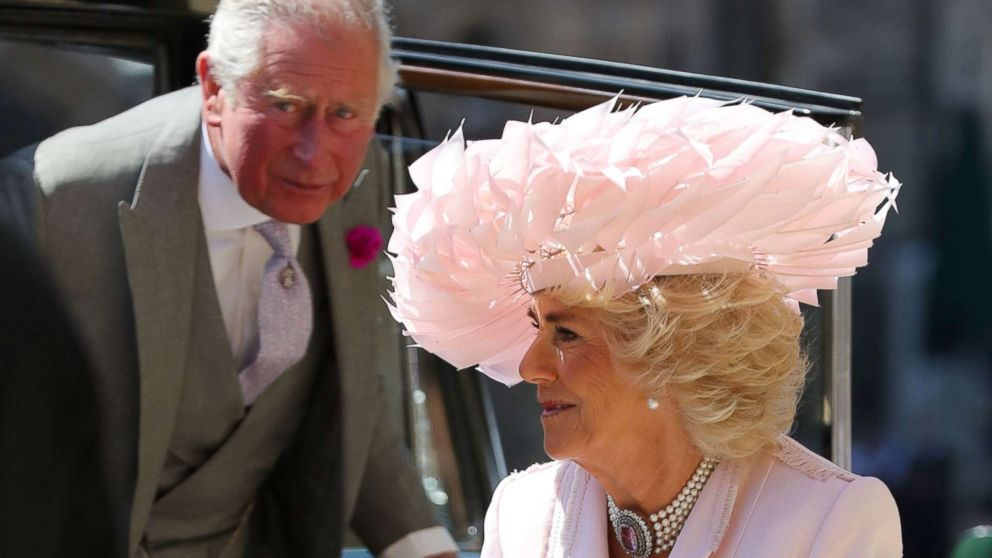 The Prince of Wales and Duchess of Cornwall arrive at St George's Chapel at Windsor Castle for the wedding of Meghan Markle and Prince Harry in Windsor, May 19, 2018.