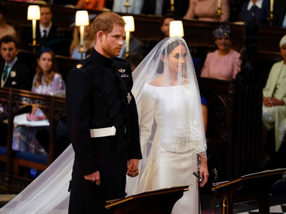 PHOTO: Britains Prince Harry and Meghan Markle stand, prior to the start of their wedding ceremony, at St. Georges Chapel in Windsor Castle in Windsor, May 19, 2018.