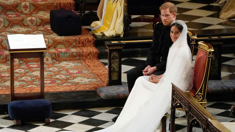 Prince Harry and Meghan Markle during their wedding at St. George's Chapel in Windsor Castle in Windsor, May 19, 2018.