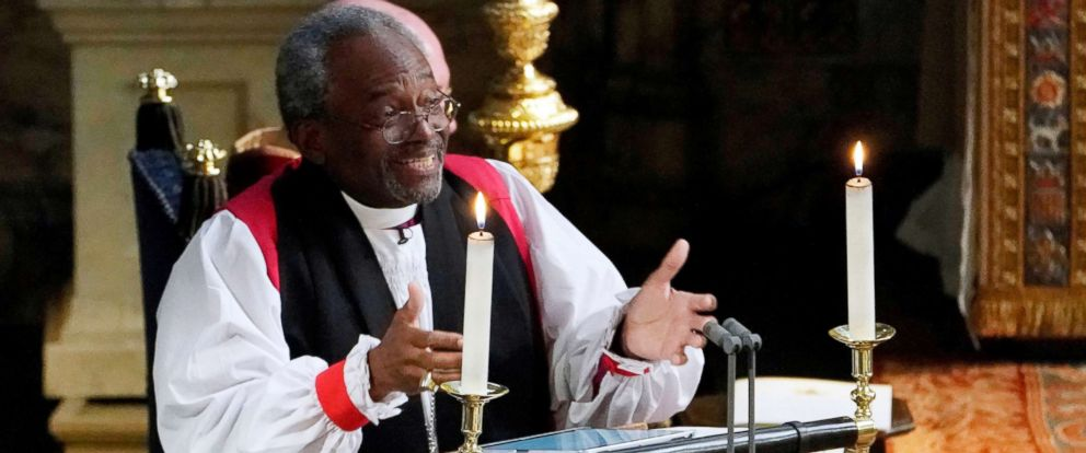 PHOTO: The Most Rev Bishop Michael Curry, primate of the Episcopal Church, gives an address during the wedding of Prince Harry and Meghan Markle in St Georges Chapel at Windsor Castle in Windsor, May 19, 2018.